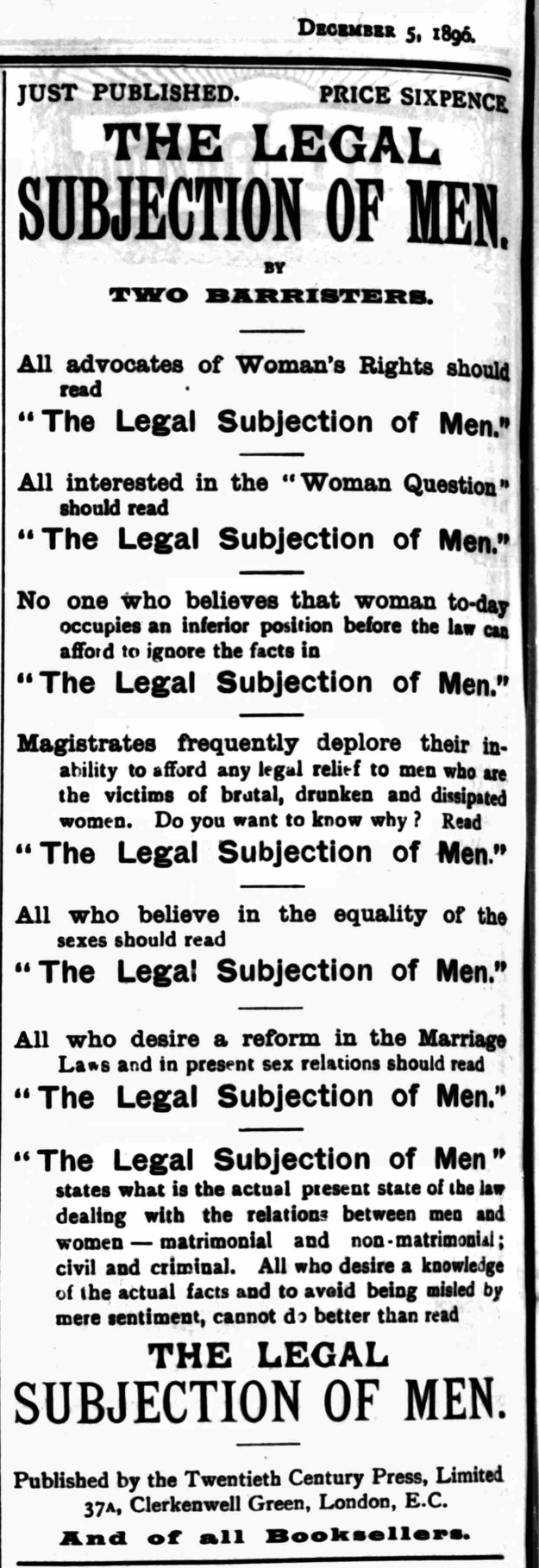 Publication- Justice - Saturday 05 December 1896 [ Ernest Belfort Bax ]